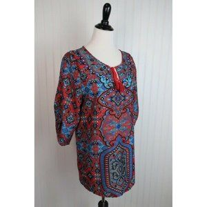 Soft Surroundings Blue Red 3/4 Sleeve Tunic Top M